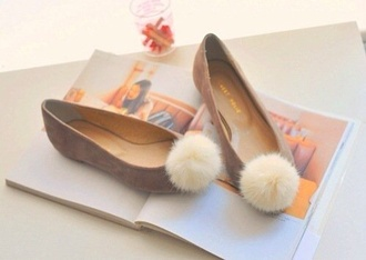 shoes style soft pom poms fluffy flats grey beige cute cute shoes ballet flats