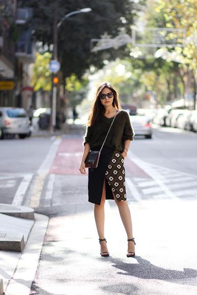 tribal pattern fake leather blogger bag sunglasses