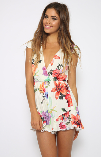 floral playsuit short sleeve romper peppermayo clothes v neck