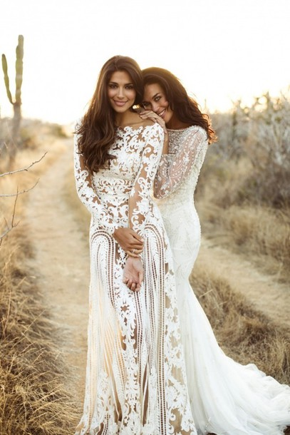 Dress boho nude lace sheer gown white designer for Hippie vintage wedding dresses