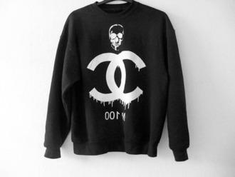 sweater black chanel black and white sweatshirt skull