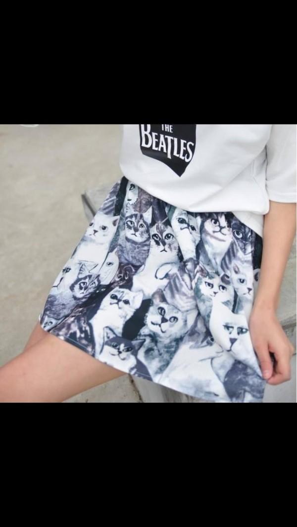 skirt kitty skirt cats kitty print kitty print skirt blue skirt cat face cat face print cat face print skirt skirt
