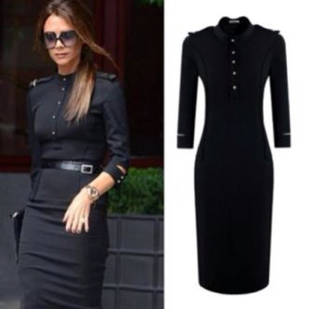 Dress Black Dress Slim Dress Elegant Long Sleece Long Sleeve