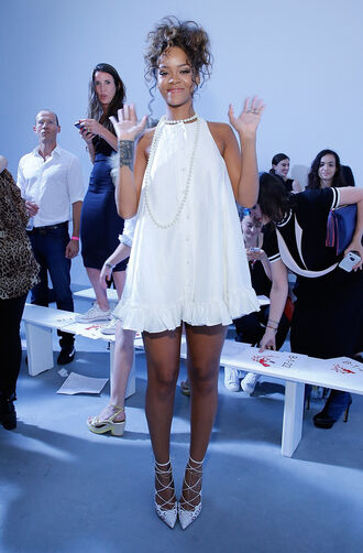 dress white dress mini dress summer outfits rihanna shoes fashion week 2014 high heels tshirt dress t-shirt summer dress dress rhianna outfit rhianna shoes jewels classy red carpet short dress pearl