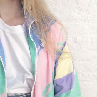 jacket pastel pale windbreaker multicolor pastel grunge