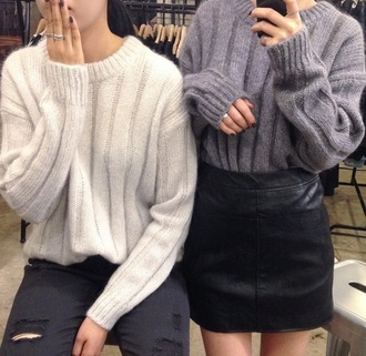 sweater winter sweater white grey wool black skirt cute oversized sweater wool sweater style top