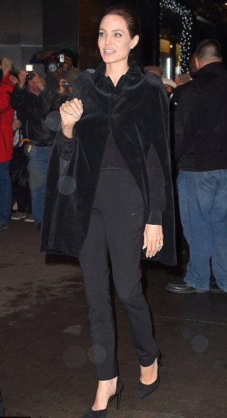 shoes angelina jolie fall outfits coat cape fur