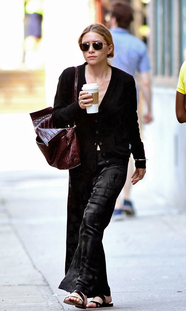 pants cardigan sandals ashley olsen shoes