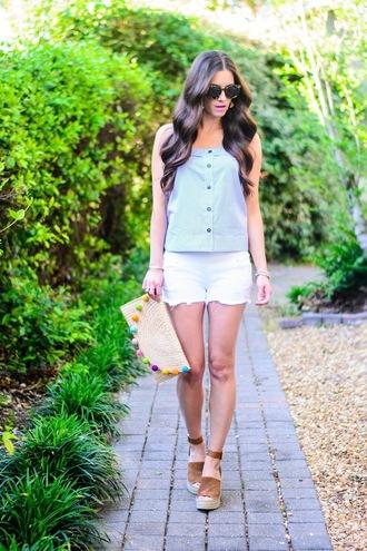 book of leisure blogger top shorts shoes bag clutch blue top white shorts espadrilles sandals