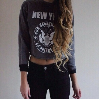 sweater blue sweater cropped sweater new york shirt