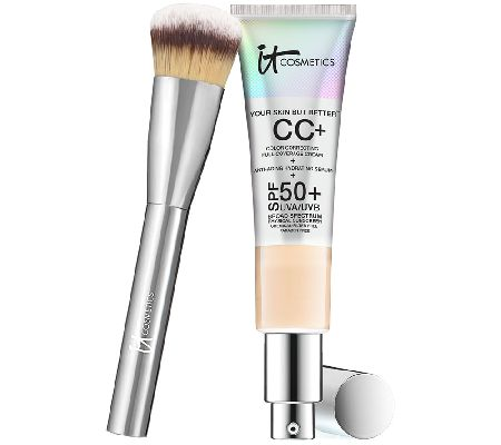 IT Cosmetics Full Coverage Physical SPF 50 CC Cream with Plush Brush — QVC.com