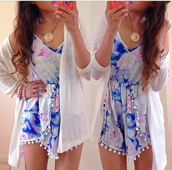 dress colorful romper cardigan High waisted shorts style bikini fashion gokhu necklace bracelets jewels cute dress cute romper