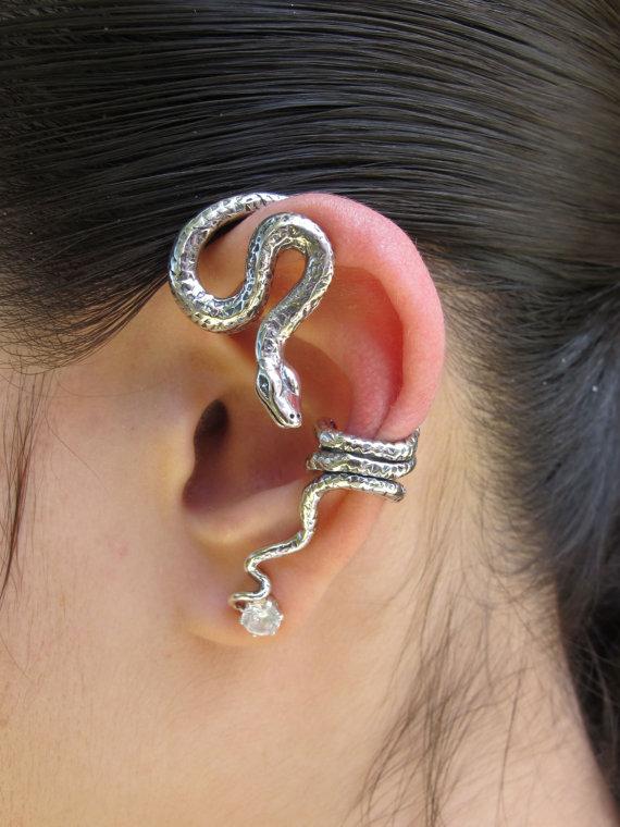 Snake Ear Wrap Silver Python Snake Ear Wrap Snake