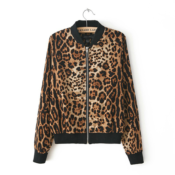 Fashion Women Wild Boutique Stand Up Collar Short Section Neutral Handsome Leopard Jacket Long Sleeve Slim Zipper Coat WF 4261-in Basic Jackets from Apparel & Accessories on Aliexpress.com