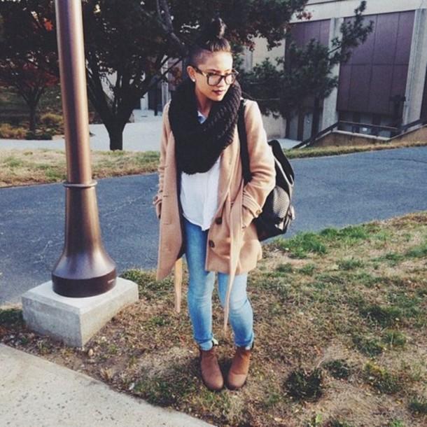 scarf black coat