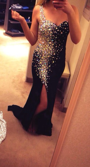 glitter dress cute dress long prom dresses long dress sparkly black prom dress strappless dress silk one strap
