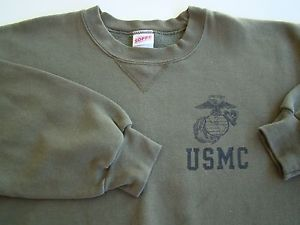 USMC US MARINE CORPS O.D. ATHLETIC PT LONG SLEEVE CREW NECK SWEATSHIRT SIZE LG