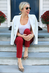 lemon stripes,blogger,jacket,pants,t-shirt,shoes,make-up,blazer,red pants,high heels,animal print heels