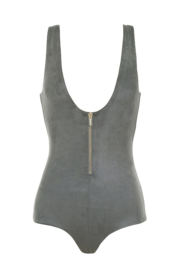 Clothing : Bodysuits : 'Romane' Grey Vegan Suede Zip front Bodysuit