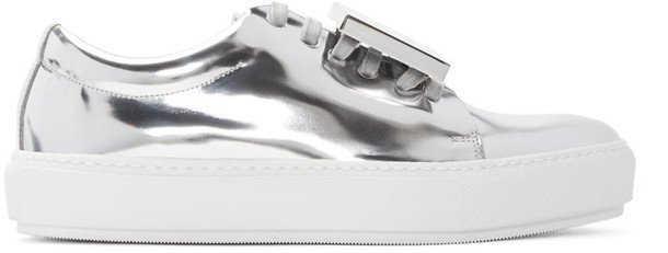 metallic sneakers silver leather shoes