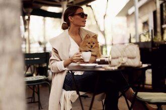 frassy blogger coat sweater top jeans shoes bag beige coat nude bag