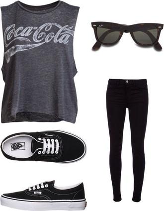 t-shirt grey coca cola earphones gloves shirt