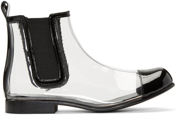 Comme Des Garçons Clear and Black Pvc Chelsea Boots
