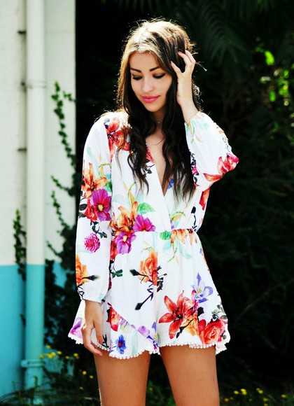 vintage boho hippie shoes moon magik romper floral romper jumpsuit white playsuit long sleeves romantic fashion festival romper