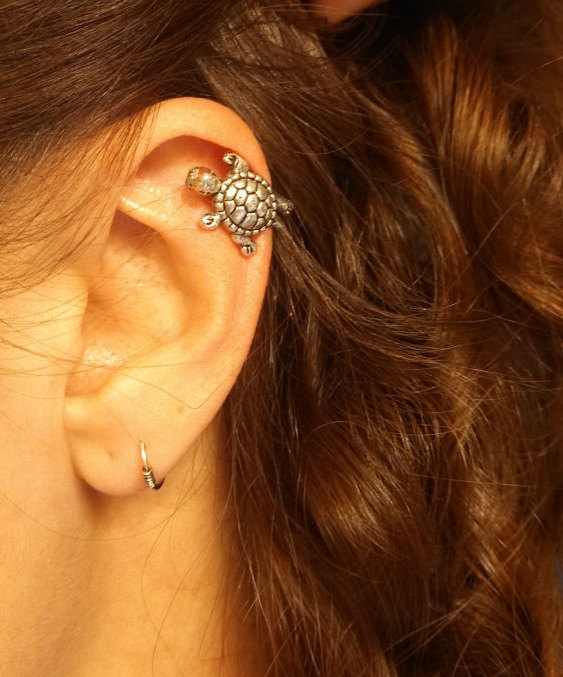 Silver Turtle Cartliage Earring Tragus Helix by MidnightsMojo