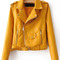Yellow faux leather belted moto jacket with zipper -shein(sheinside)