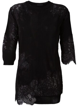 top knitted top women lace black