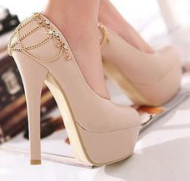 cd8717cef7c2 shoes high heels beige light pink chain baby pink pumps heels blush pink  stilettos