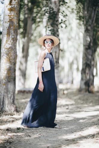 lovely pepa blogger dress hat bag blue dress maxi dress