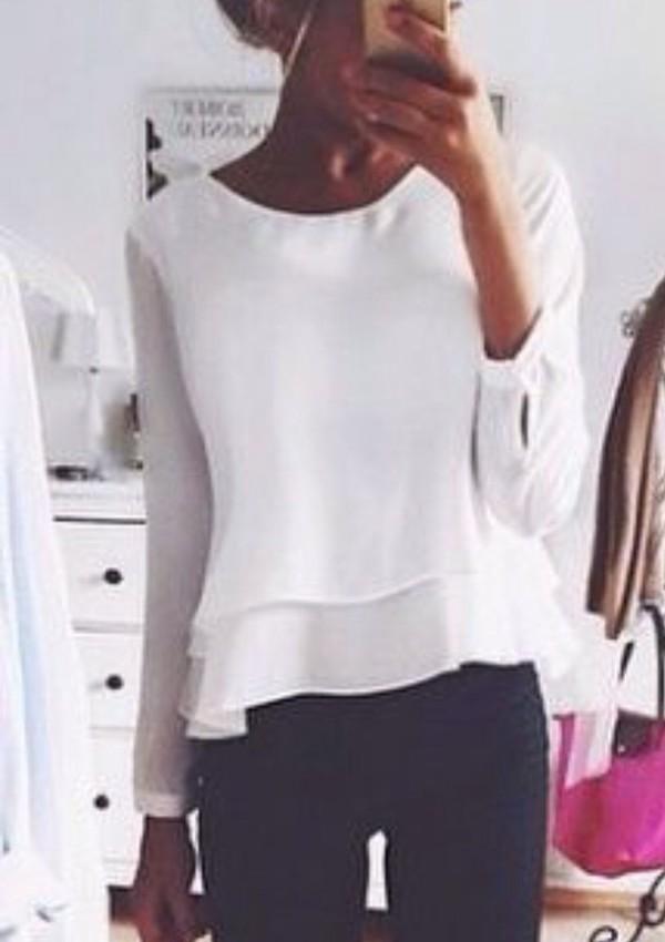 Zara White Long Sleeve Blouse 3
