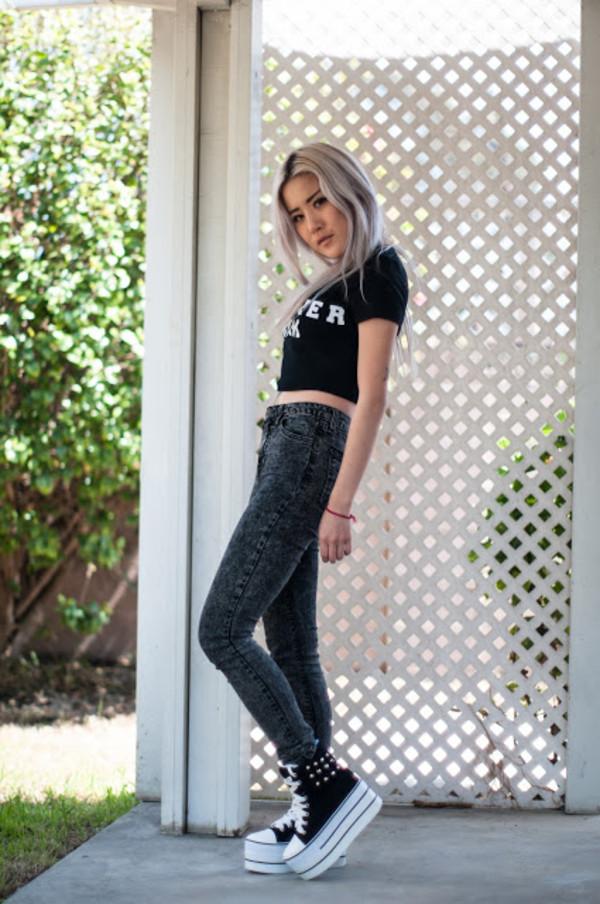 feral creature t-shirt shoes jeans