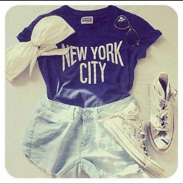 top blue dark blue tumblr shirt t shirt. t-shirt blue top blue shirt new york city
