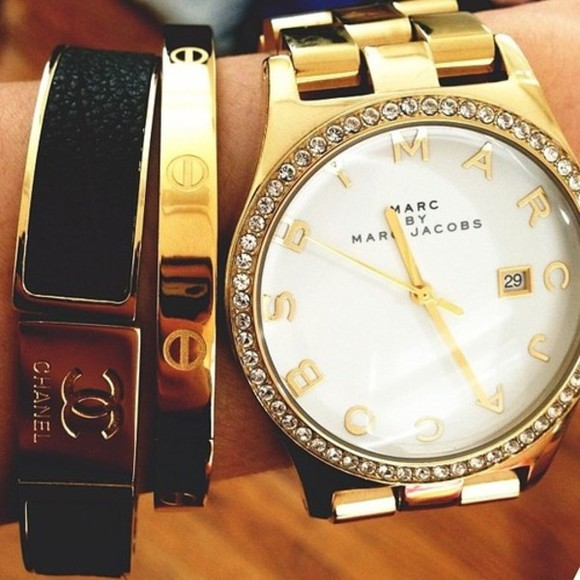 jewels black jewels gold gold jewels marc by marc jacobs marc jacobs chanel bracelets luxury luxe girl woman
