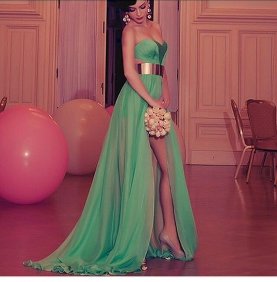 prom dress long strappless dress green dress gold chains