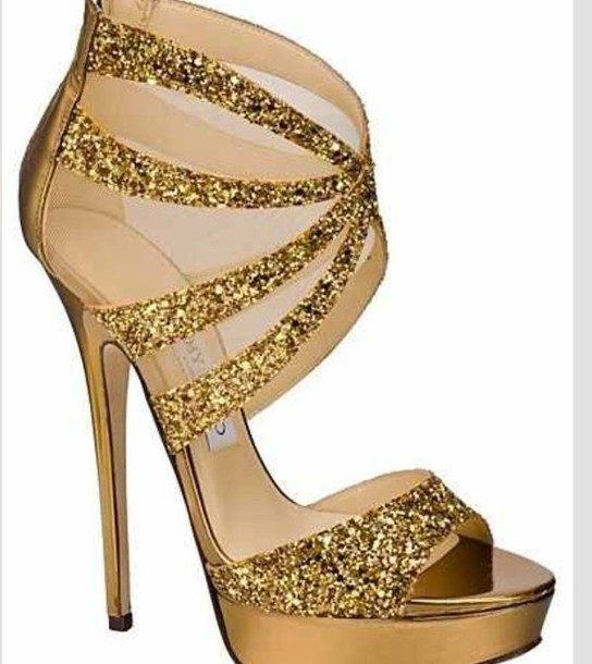 Shoes: gold, heels, sparkle - Wheretoget