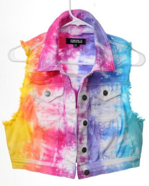 jacket tie dye denim jacket vest