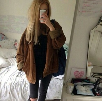 jacket brown jacket velour grunge 90s style 90s jacket