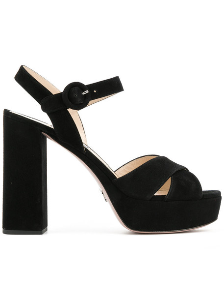 Prada women sandals platform sandals leather suede black shoes