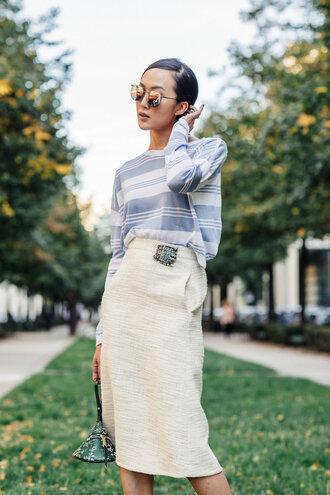 skirt tumblr pencil skirt midi skirt white skirt top blue top striped top stripes sunglasses mirrored sunglasses