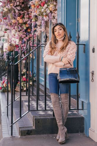 sweater pink sweater pom poms jeans blue jeans boots grey boots over the knee boots bag black bag