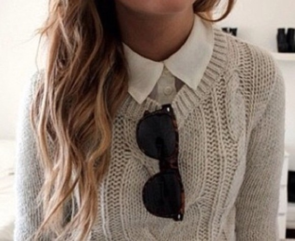 sweater knitwear cable knit beige cosy shirt and sweater ray bans grey sweater