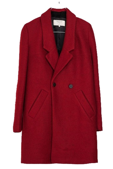 Red Double-breasted Long Coat with Pockets [FEBK0220]- US$54.99 - PersunMall.com