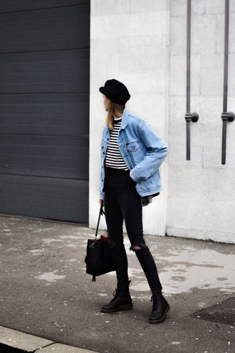 jacket striped top hat fisherman cap boots black boots denim jacket stripes jeans black jeans ripped jeans