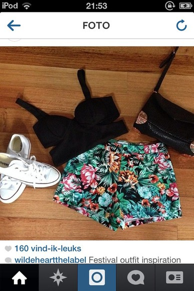 pink shirt shorts flowers jeans color crop top bustier bag