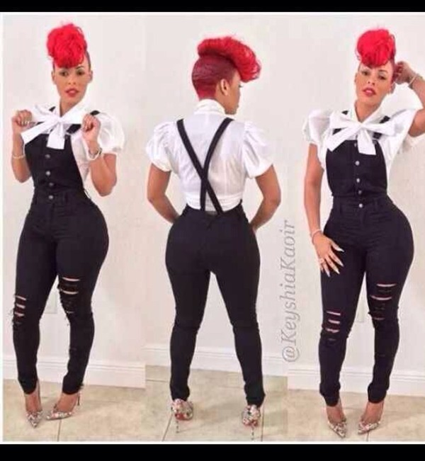 jeans keyshia kaoir blouse jumpsuit