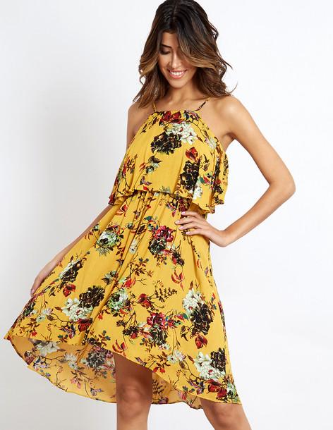 Blue Vanilla FLEUR - Floral Printed Mustard Dress